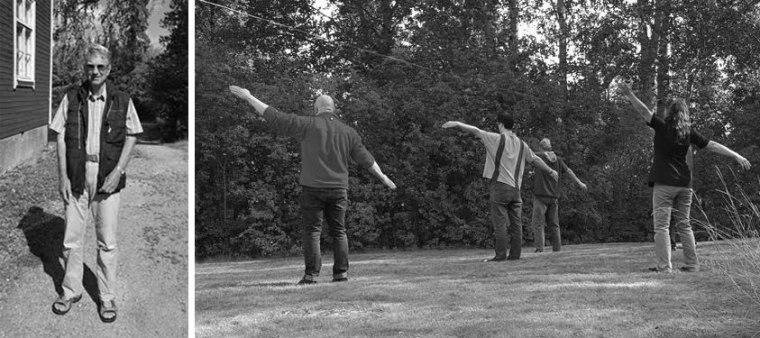 Ivar Hafskjold pictured in Sweden 2015 (left), and Ivar Hafskjold leading a group doing the rune stances in Sweden 2015; the stances are meditative ritual that is essential within Stav. The stances develop both spiritual and martial aspects (right). (Photo by Roland Zerpe, copyright 2015.)