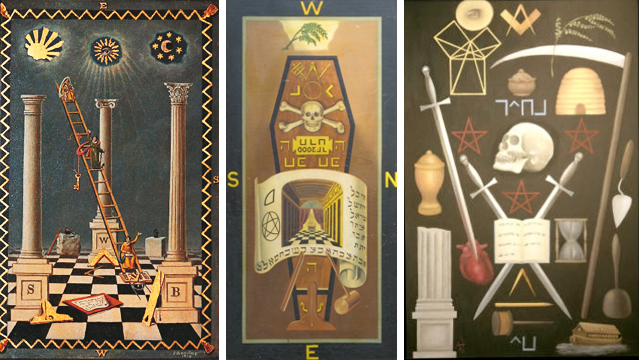 First degree Masonic tracing board by Josiah Bowring (left), third degree tracing board by John Harris (center), and third degree board by Angel Millar (right).