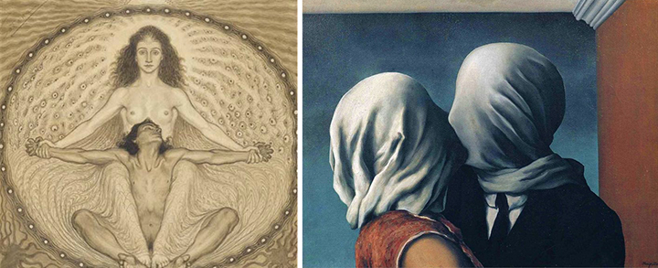 """From mysticism to the mundane: man and woman depicted by Fidus (Hugo Höppener, 1868 - 1948) (left) and """"The Lovers II"""" (1928) by Rene Magritte."""