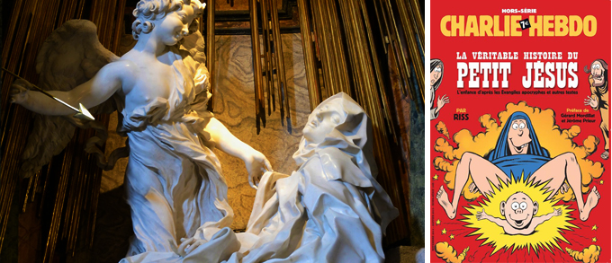 """From the sacred to the profane: """"The Ecstasy of Saint Theresa"""" (1647-52) by Gian Lorenzo Bernini (left) and The Virgin Mary and Jesus depicted by French satirical magazine Charlie Hebdo."""